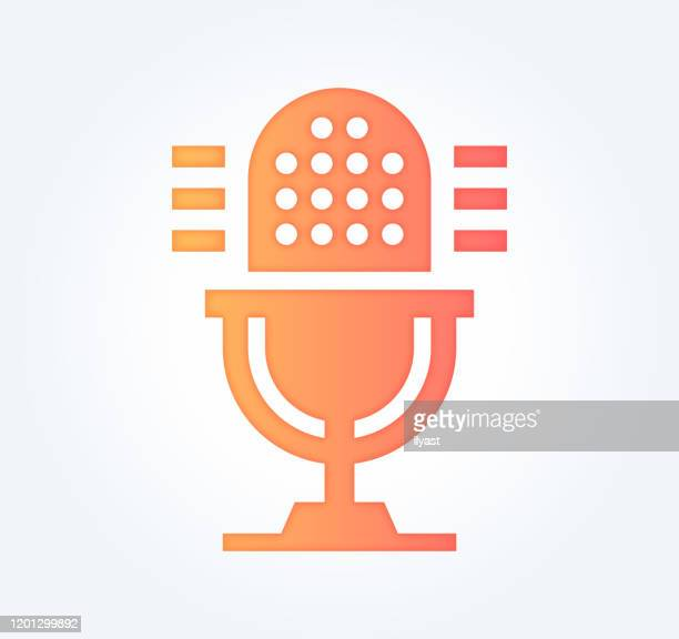 podcast advertising gradient fill color & paper-cut style icon design - microphone stock illustrations