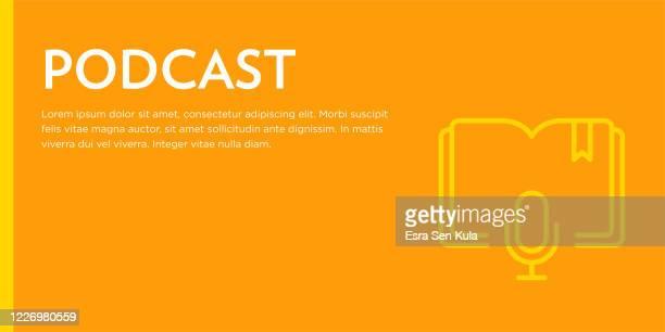 podcast flat web banner mit editierbaren strich linie symbol - e book reader stock-grafiken, -clipart, -cartoons und -symbole