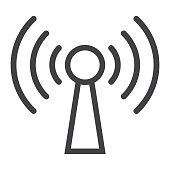 Podcast line icon, web and mobile, communication