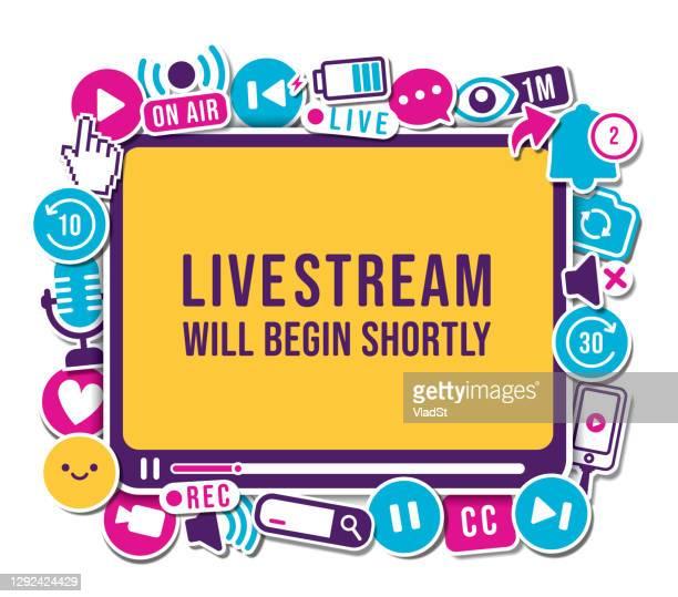 podcast live stream banner sign video blog vlogger icon set - live broadcast stock illustrations