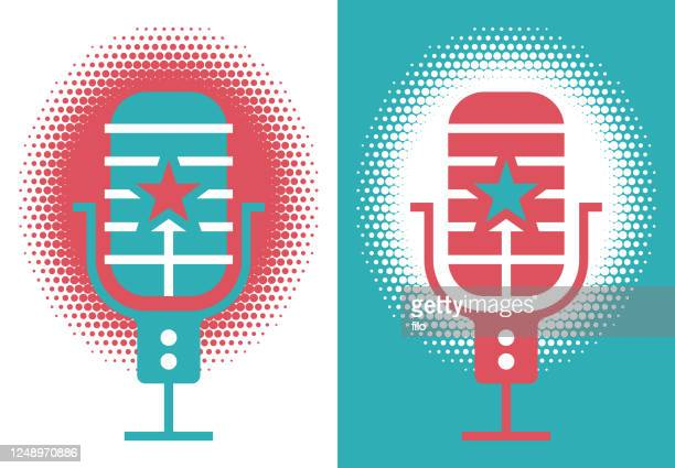 podcast radio broadcasting microphone - microphone stand stock illustrations