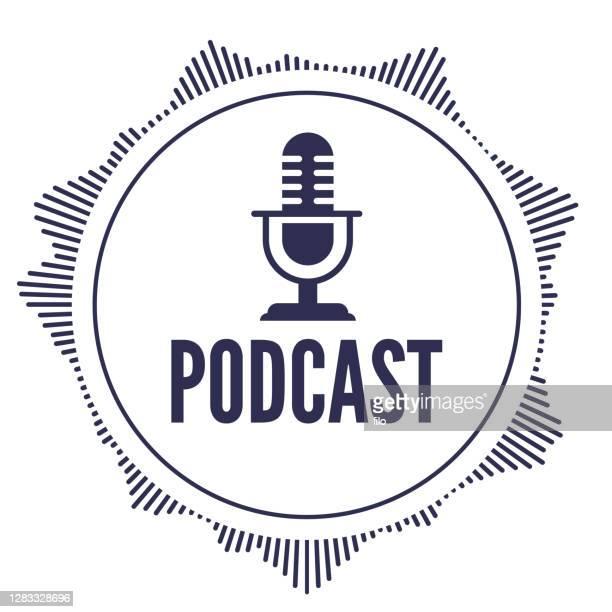illustrazioni stock, clip art, cartoni animati e icone di tendenza di elemento audio podcast round design - hi fi