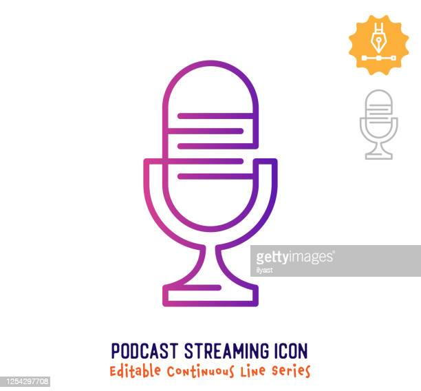 podcast streaming continuous line editable stroke line - microphone stock illustrations