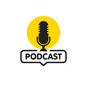 Podcast. Vector flat illustration, icon, logo design on white background