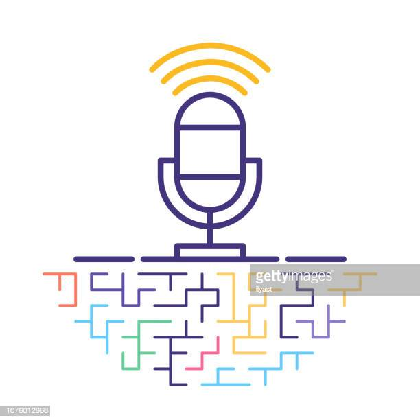 podcasts online line icon illustration - podcasting stock illustrations, clip art, cartoons, & icons