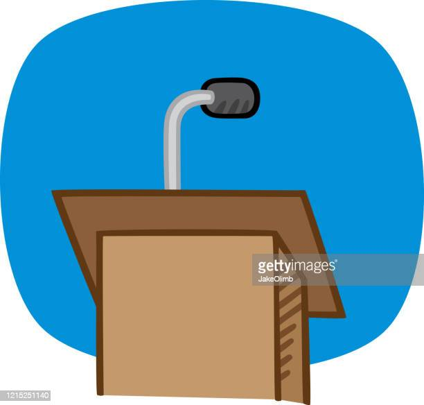 podium doodle - microphone stand stock illustrations