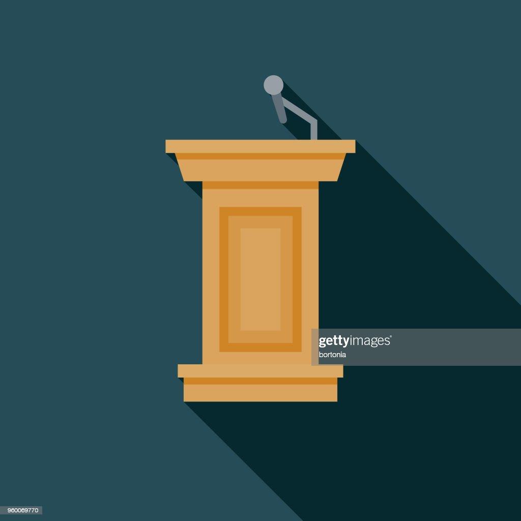 Podium flache Wahlen Designikone mit Seite Schatten : Stock-Illustration