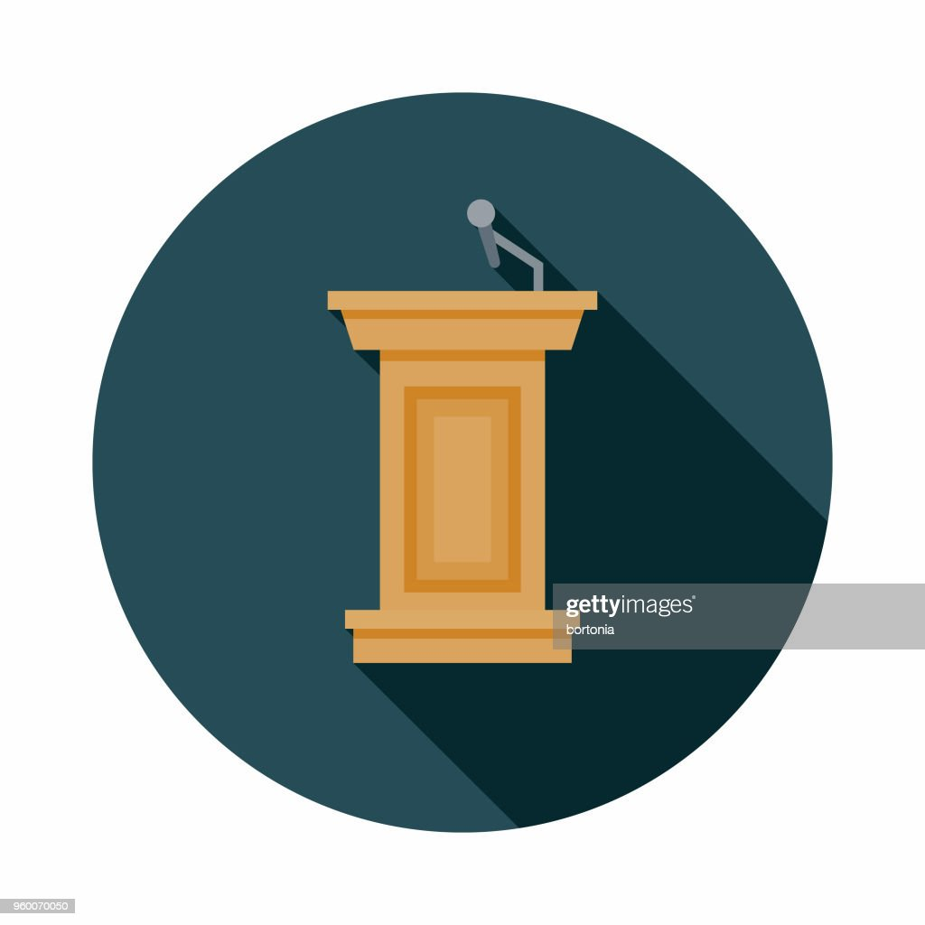 Podium Flat Design Elections Icon with Side Shadow : stock illustration