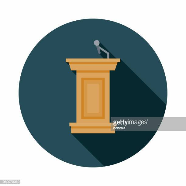 bildbanksillustrationer, clip art samt tecknat material och ikoner med podium platt design val ikonen med side skugga - val evenemang
