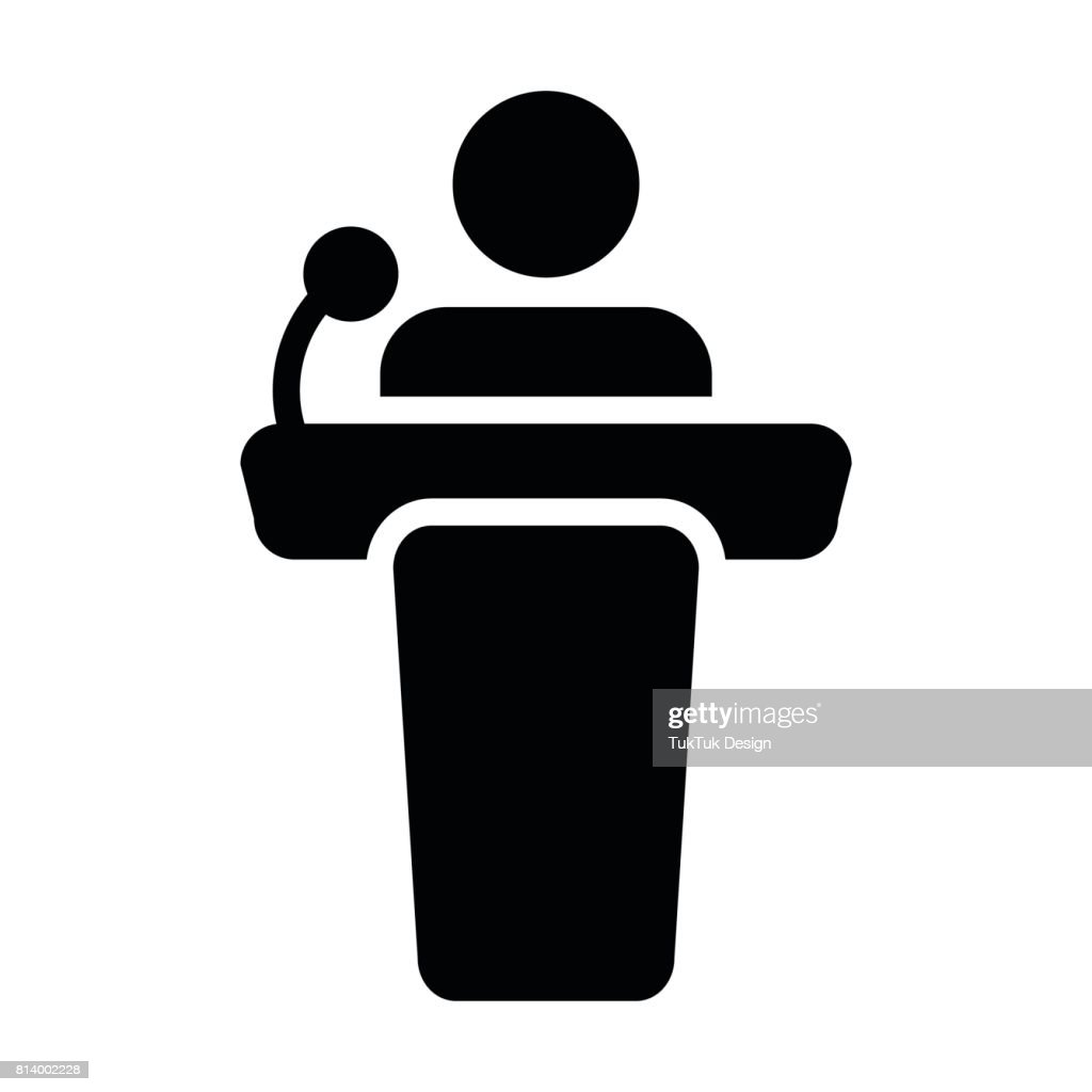 Podium Icon Vector Person Public Speech in Glyph Pictogram Symbol