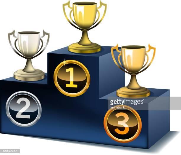 podium on cups