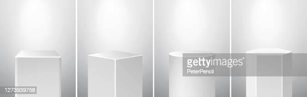 ilustrações de stock, clip art, desenhos animados e ícones de podium pedestal museum stage set. realistic vector. geometric blank 3d spotlight stands. cube, rhombus, cylinder, hexagon prism. - winners podium