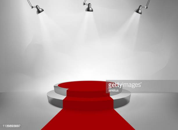 podium steps red carpet - red carpet event stock illustrations