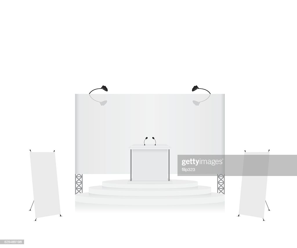 Podium trade exhibition stand and x-stand banner illustration