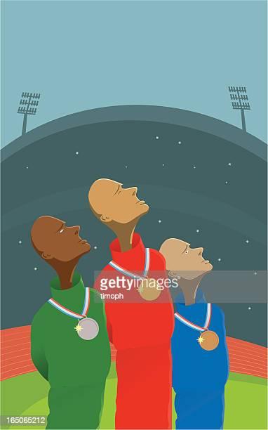 illustrations, cliparts, dessins animés et icônes de podium - stade olympique