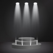 Podium with fame spotlight vector illumination. Winner or product presentation concept illustration. Luxurious, high class stage, award ceremony. Projector rays of white light on the scene.