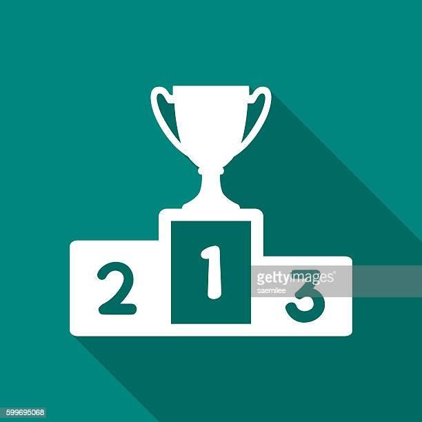 podium with trophy icon white - winners podium stock illustrations