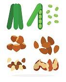 Pods peas, almonds, hazelnuts, Brazil nuts, macadamia nut