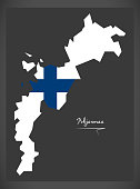 Pohjanmaa map of Finland with Finnish national flag illustration