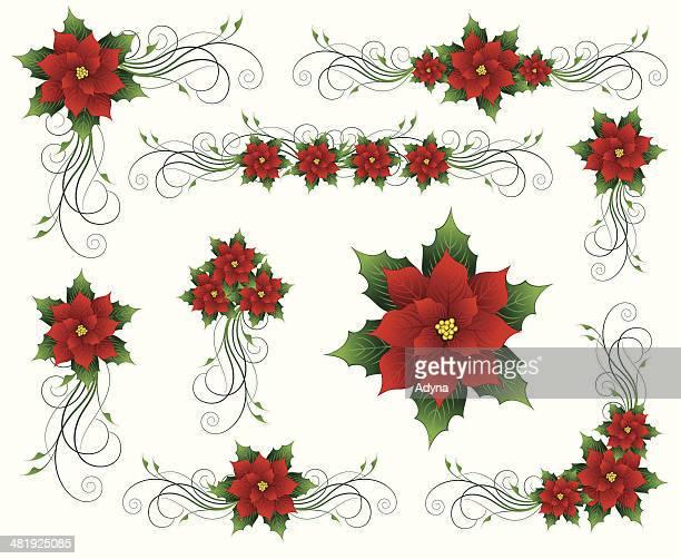 ilustraciones, imágenes clip art, dibujos animados e iconos de stock de flor de nochebuena navidad de elementos florales - flor de pascua