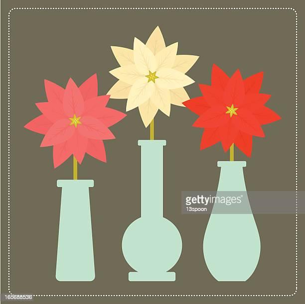 poinsettia trio - vase stock illustrations, clip art, cartoons, & icons