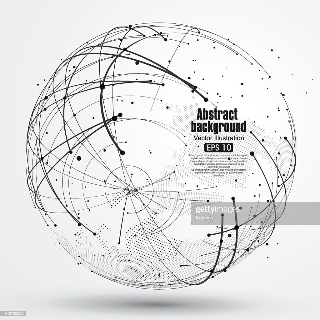 Point and curve constructed the sphere wireframe, abstract illustration.