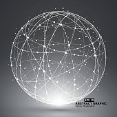 Point and curve constructed the sphere wireframe.