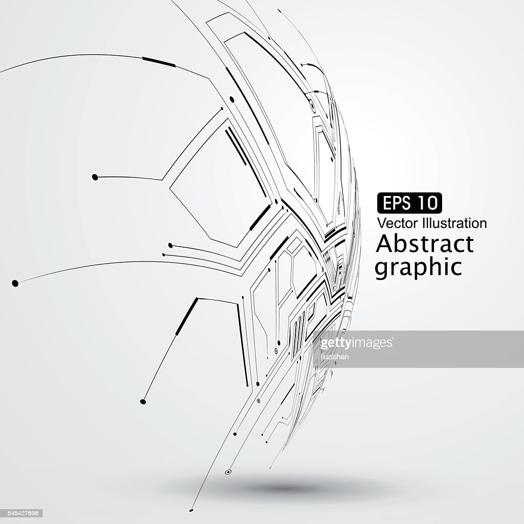 Point and line constructed the sphere wireframe,  abstract illustration.