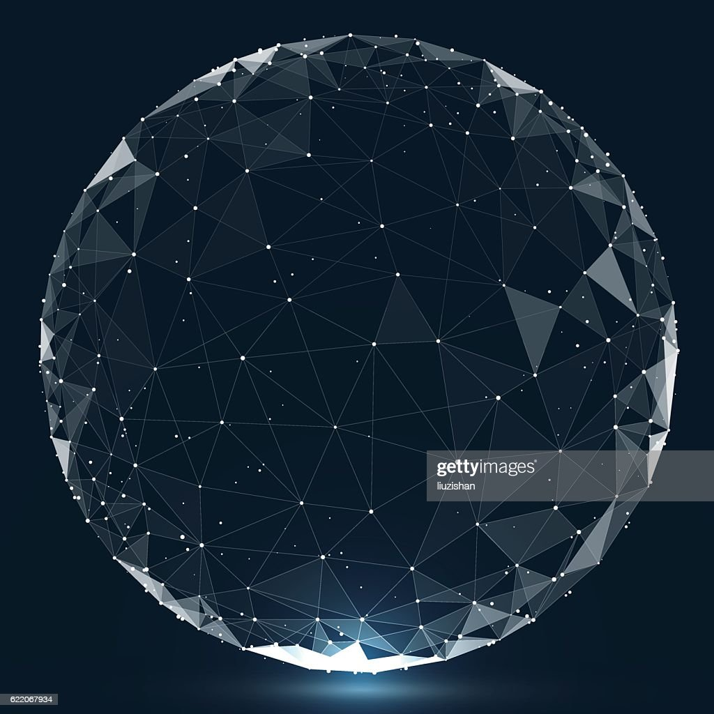 Point, line, surface composed of circular graphics, Global network connection.