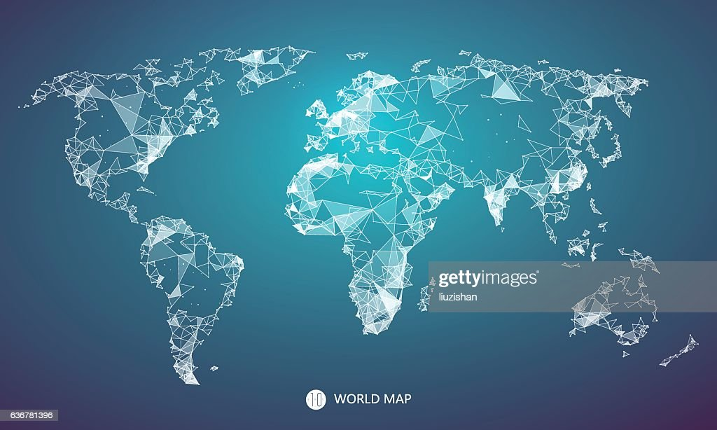 Point, line, surface composition of the world map.
