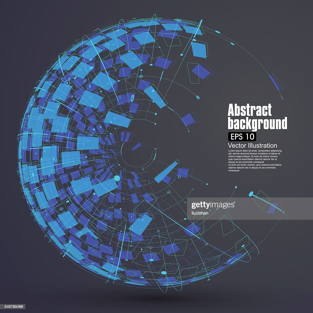 Point, line, surface formed wireframe sphere.