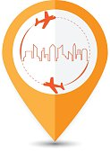 Point the travel location icon.