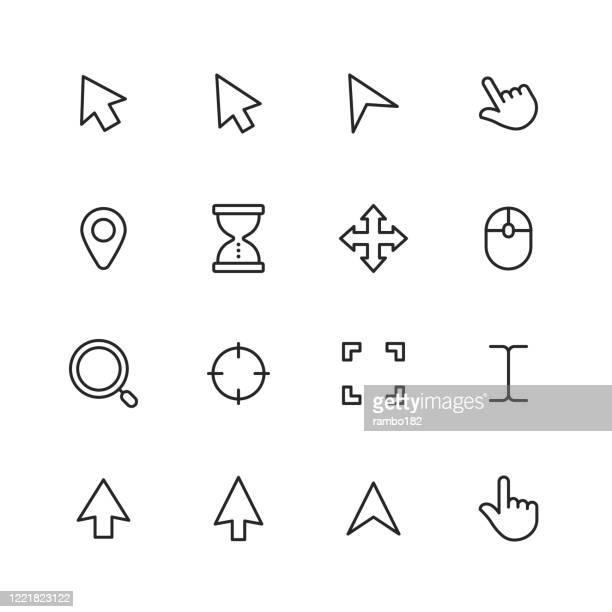 ポインタとカーソルラインアイコン編集可能なストローク。ピクセルパーフェクト。モバイルとウェブ用。ポインタ、カーソル、タッチジェスチャー、選択、コンピュータマウス、矢印、指� - カーソル点のイラスト素材/クリップアート素材/マンガ素材/アイコン素材