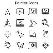 Pointer & Cursor icon set in thin line style