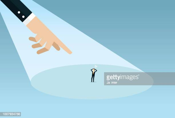 pointing a businessman - regret stock illustrations