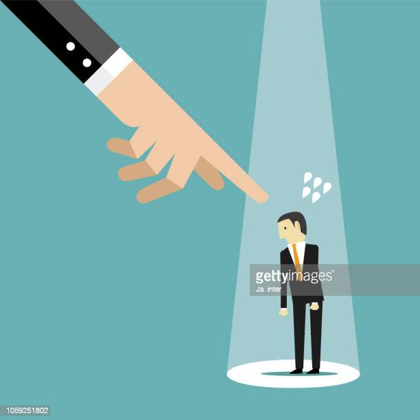 pointing a businessman - downsizing unemployment stock illustrations, clip art, cartoons, & icons