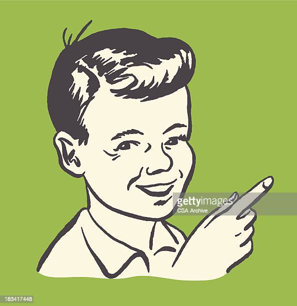 pointing boy - teenagers only stock illustrations