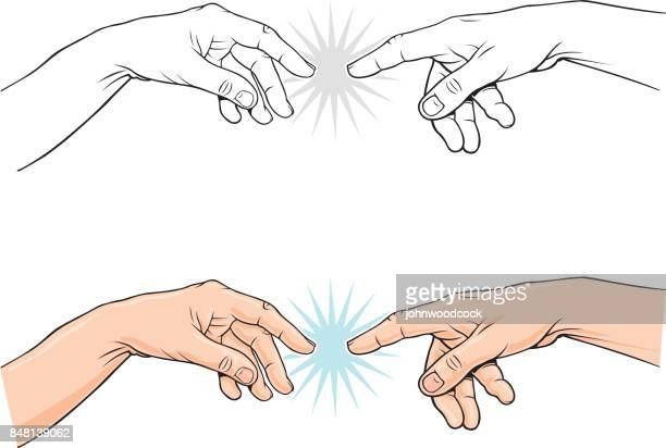 pointing classical finger vector illustration - touching stock illustrations