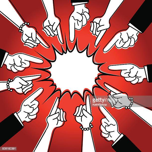 pointing finger - question, answer, blame - regret stock illustrations