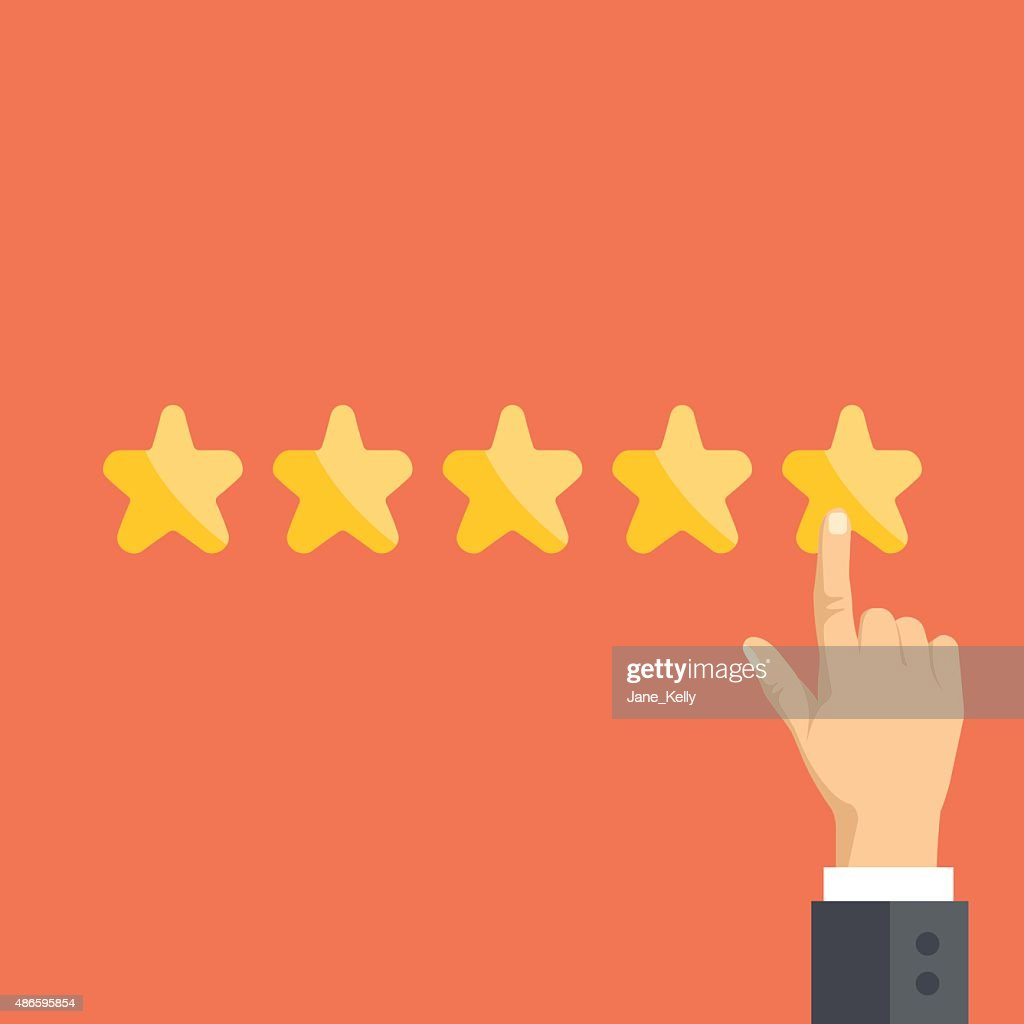 Pointing hand and five stars. Customer reviews, user feedback concept