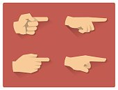 Pointing hand flat icons