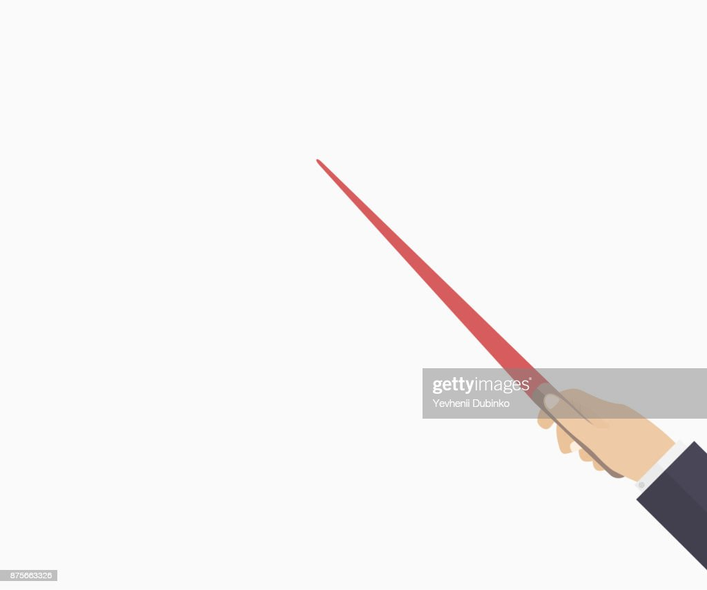 Pointing rod with hand. Learning process. Template for business, education presentation, coaching