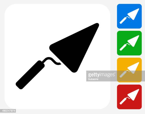 pointing trowel icon flat graphic design - trowel stock illustrations, clip art, cartoons, & icons