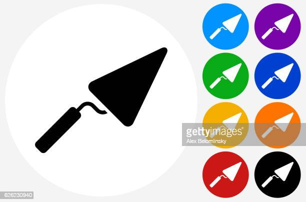 pointing trowel icon on flat color circle buttons - trowel stock illustrations, clip art, cartoons, & icons