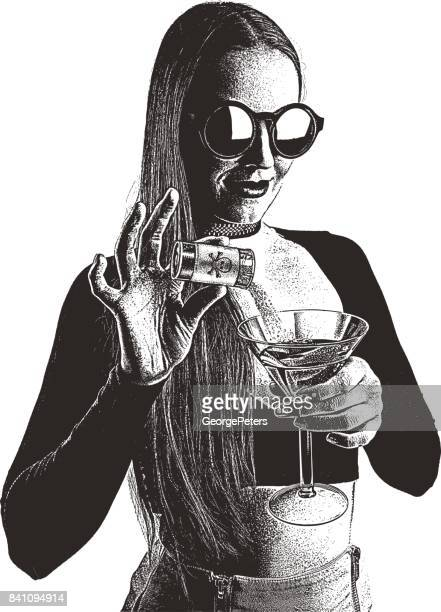 poison murder. adult woman adding roofie to a drink in a nightclub. - crime scene stock illustrations, clip art, cartoons, & icons