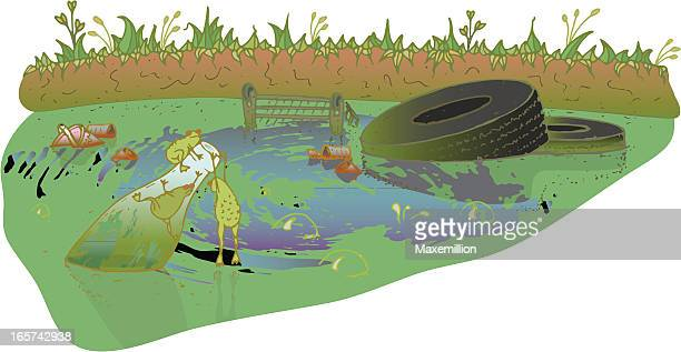poisoned pond - water pollution stock illustrations, clip art, cartoons, & icons