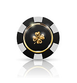 VIP poker black and white chip with golden ring and light effect vector. Black jack poker club casino four-leaf clover emblem isolated on white background with reflect.