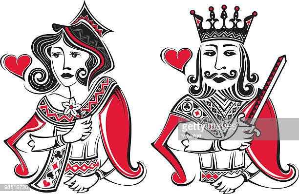 poker card king and gueen - king royal person stock illustrations, clip art, cartoons, & icons