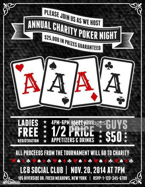 poker charity tournament poster on black background - corona zon stock illustrations