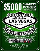 Poker Charity Tournament Poster on Green Background